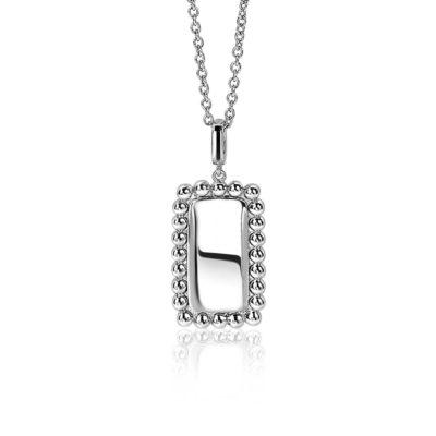 ZINZI zilveren hanger 26mm in rechthoekige vorm met bolletjes rand Exclusief collier