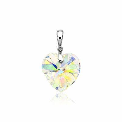 Zinzi zilveren hanger met swarovski-crystal wit hart