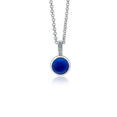 Zinzi zilveren hanger met ronde zetting bezet met blauwe kleursteen