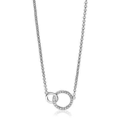 Zinzi zilveren ketting 2 open rondjes verbonden wit zirkonia