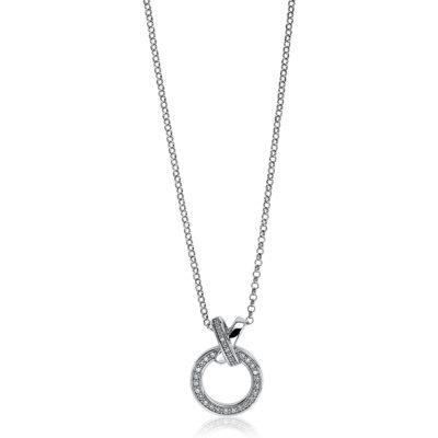 Zinzi zilveren ketting jasseron schakel met open ronde vorm witte zirkonia