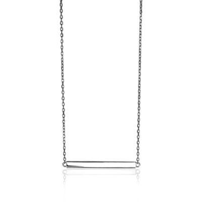 Zinzi zilveren ketting met stevige anker schakels en in het midden een recht plaatje