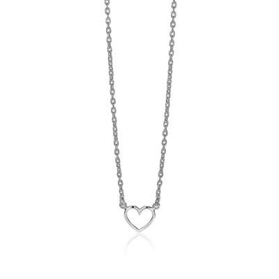 ZINZI zilveren ketting open hartje 40-43cm
