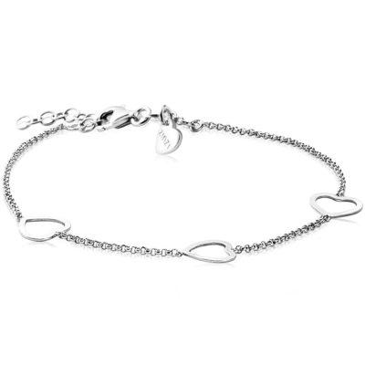 Zinzi zilveren armband hart 17-20cm fantasie schakels gecombineerd met drie open harten