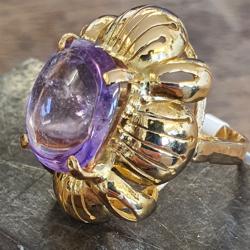 Geel gouden ring met een amethist maat 15,4