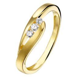 Geelgouden ring met 3x zirkonia