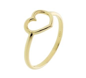 Geelgouden ring met open hart