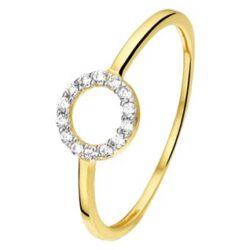 Geelgouden ring met zirkonia rond gezet