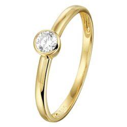 Geelgouden ring met zirkonia 4mm