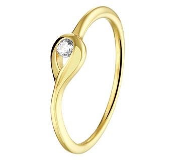 Geelgouden ring met zirkonia 2,5mm