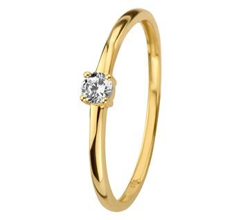Geelgouden ring met zirkonia 3mm