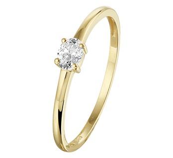 Geelgouden ring met ovale zirkonia 3x4mm