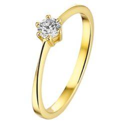 Geelgouden ring met zirkonia 3,5mm