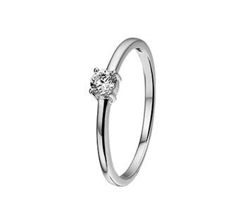 Witgouden ring met zirkonia 3,5mm