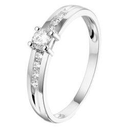 Witgouden ring met zirkonia middensteen 3,5mm