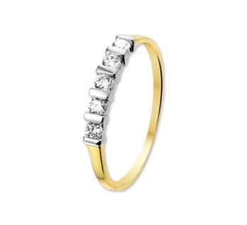 Bicolor gouden ring met 3x zirkonia
