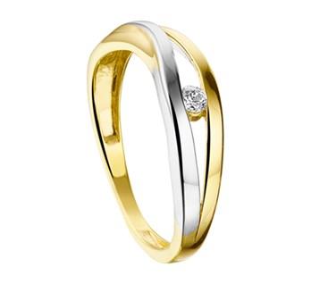 Bicolor gouden ring met zirkonia