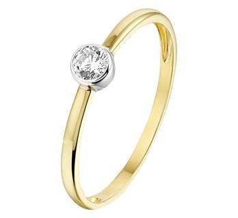 Bicolor gouden ring met zirkonia 4,5mm