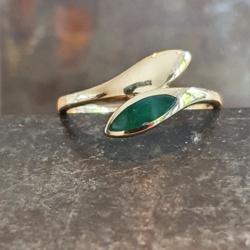 Geelgouden ring met jade