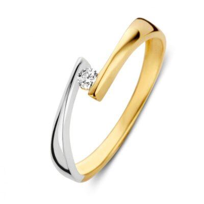 Bicolor gouden ring zirkonia