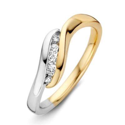 Bicolor gouden dames ring