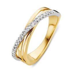 Bicolor gouden damesring