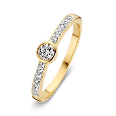 Geelgouden ring met zirkonia