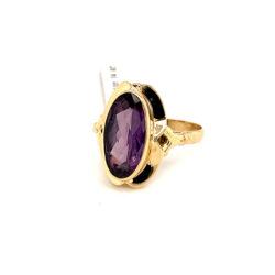 Gouden ring alexandriet maat 17