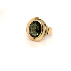 Gouden ring synthetische toermalijn maat 17,25