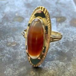 Gouden ring streep agaath