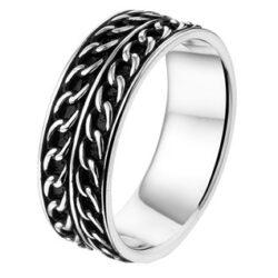 Geoxideerd zilveren ring massief