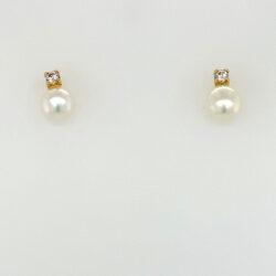 Gouden oorknoppen parel met zirkonia