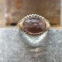 zilver met goud ring, synthetische steen